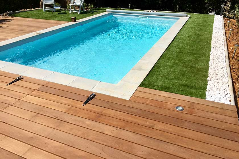 Elegant Entourage De Piscine En Bois Exotique Itauba With Photo Terrasse  Bois Piscine