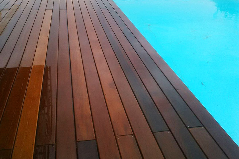 Photos de r alisations clients de terrasse bois nature for Piscine en bois exotique