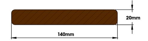 profil lisse de lame de terrasse en bois cumaru 20x140mm