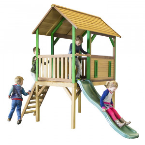 Aire de jeu haute en bois et toboggan  - Bogo