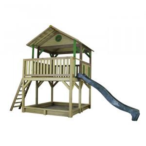 Aire de jeu en bois sur pilotis, toboggan et bac à sable  - Simba
