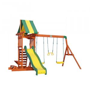 Aire de jeu en bois avec toboggan et balançoire - Sunnydale