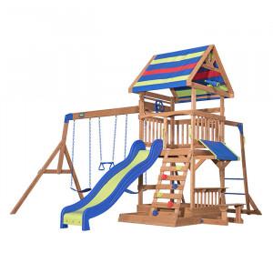 Aire de jeu en bois avec toboggan et balançoire - Northbrook