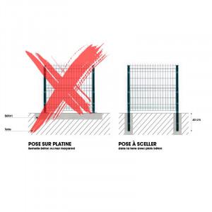 Solution clôture rigide à sceller 1,73m gris