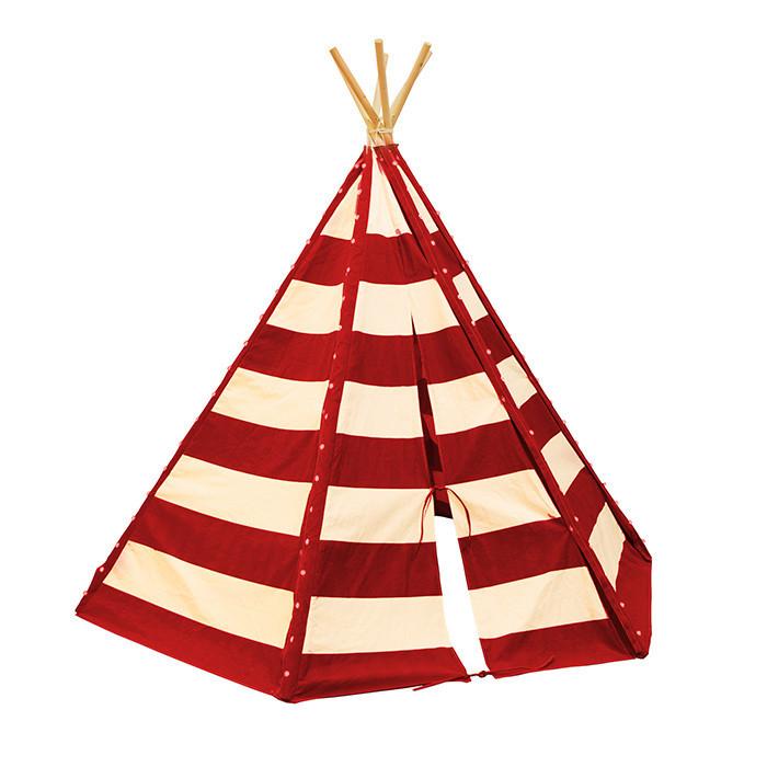 Tente tipi pour enfant avec guirlande LED - Lumo rouge