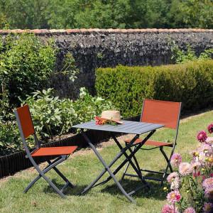 Ensemble salon de jardin 2 personnes - Table pliante Lorita gris - Chaise pliante Dream paprika - Alizé