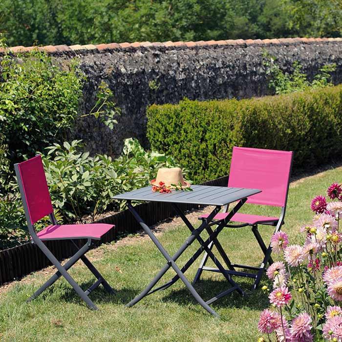Ensemble de jardin table Lorita grise et chaises Théma framboise - 2 ...
