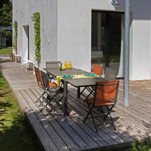 Ensemble salon de jardin 6 personnes - Table extensible Elise café - Chaise pliante Théma café - Alizé