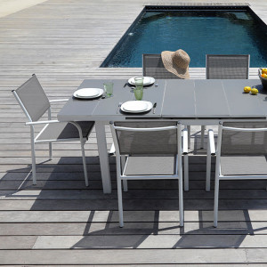 Ensemble salon de jardin 6 personnes - Table extensible Ondine blanc/taupe - Fauteuil Duca blanc/taupe - Alizé