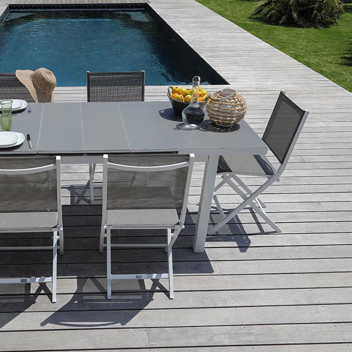 Ensemble de jardin table Ondine et chaises Théma blanc/taupe - 6 ...