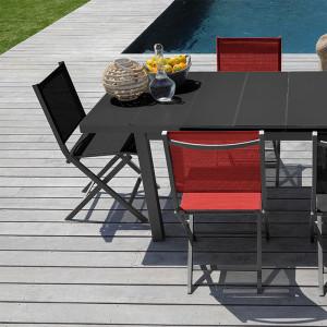 Ensemble salon de jardin 6 personnes - Table extensible Ondine gris - Chaise pliante Théma noir - Alizé