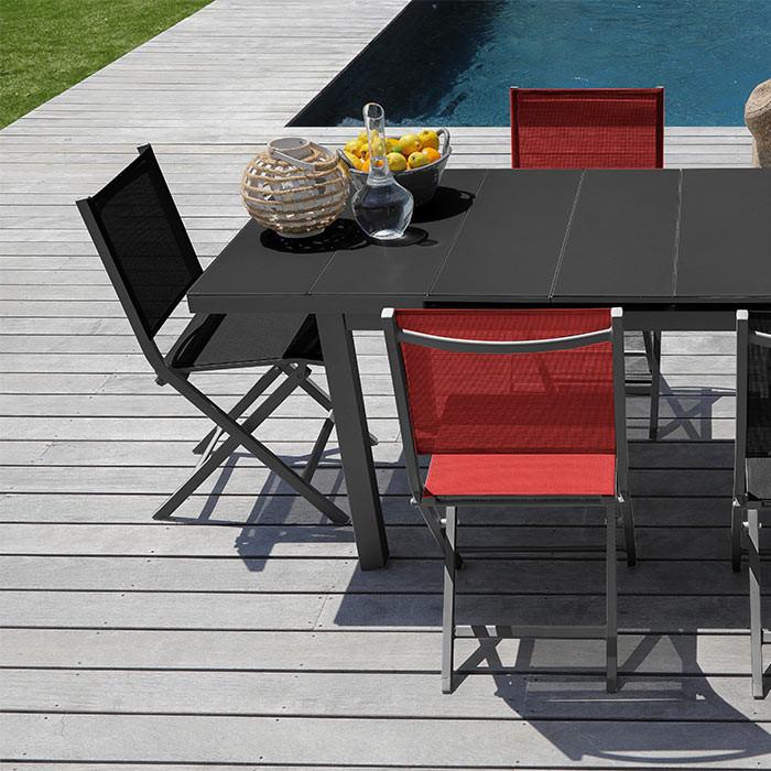 Ensemble de jardin table Ondine et chaises Théma noires - 6 personnes