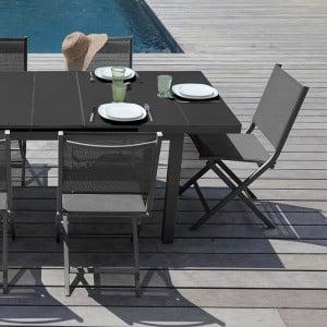Table Ondine 160/213 + 6 chaises Théma grises