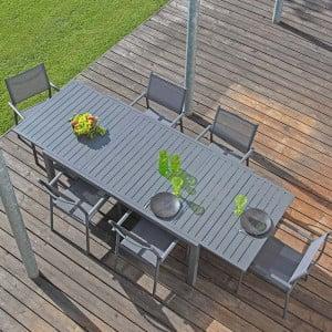 Ensemble salon de jardin 6 personnes - Table extensible Solem gris - Fauteuil Duca gris - Alizé