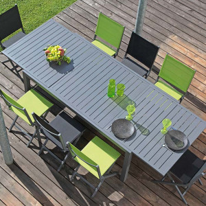 Ensemble salon de jardin 6 personnes - Table extensible Solem gris - Chaise Théma vert - Alizé