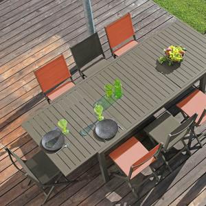 Ensemble salon de jardin 6 personnes - Table extensible Solem café - Chaise Théma café - Alizé