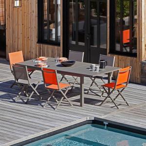 Ensemble salon de jardin 6 personnes - Table extensible Trieste café - Chaise pliante Théma café - Alizé