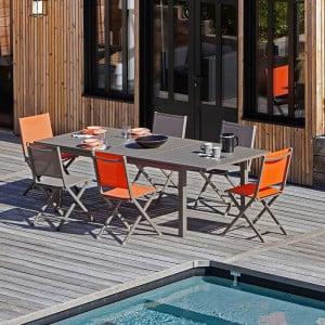 Ensemble salon de jardin 6 personnes - Table extensible Trieste café - Chaise pliante Théma paprika - Alizé