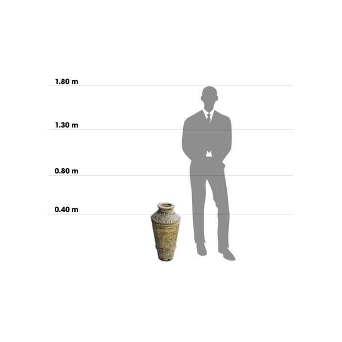 Taille d'une poterie Argos comparée à la taille d'un homme