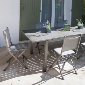 Table Trieste 180/240 + 6 chaises Théma argent