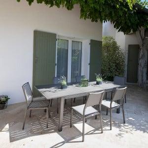 Table Trieste 180/240 + 6 fauteuils Théma argent