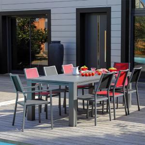 Ensemble salon de jardin 6 personnes - Table extensible Latino gris - Chaise Florence rouge - Alizé