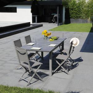 Ensemble salon de jardin 6 personnes - Table extensible Moora taupe - Chaise pliante Théma taupe - Alizé
