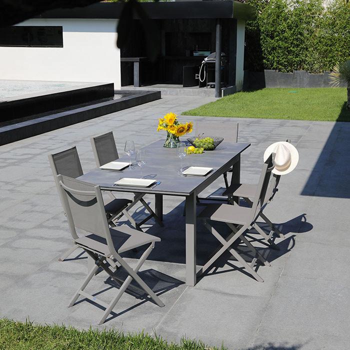 Ensemble de jardin table Moora et chaises Théma taupe - 6 personnes