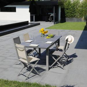 Ensemble salon de jardin 6 personnes - Table extensible Moora taupe - Chaise pliante Théma taupe/beige - Alizé