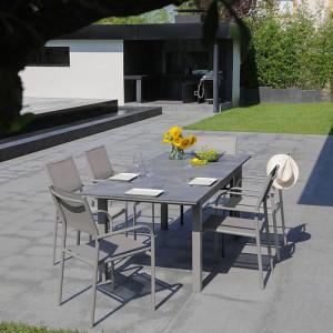 Ensemble salon de jardin 6 personnes - Table extensible Moora taupe - Fauteuil Duca taupe - Alizé