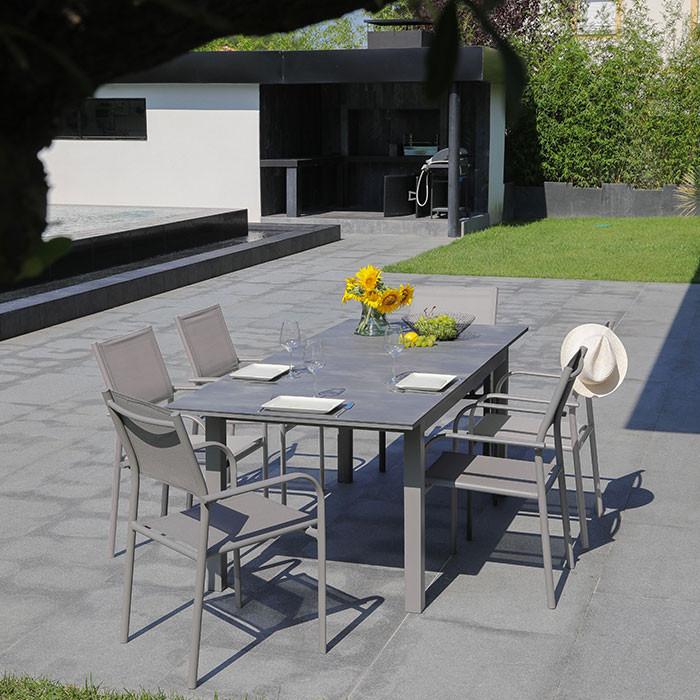 Ensemble de jardin table Moora et fauteuils Duca taupe - 6 personnes