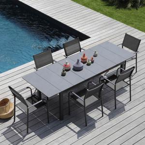 Ensemble salon de jardin 6 personnes - Table extensible Tahaa gris - Fauteuil Duca gris - Alizé