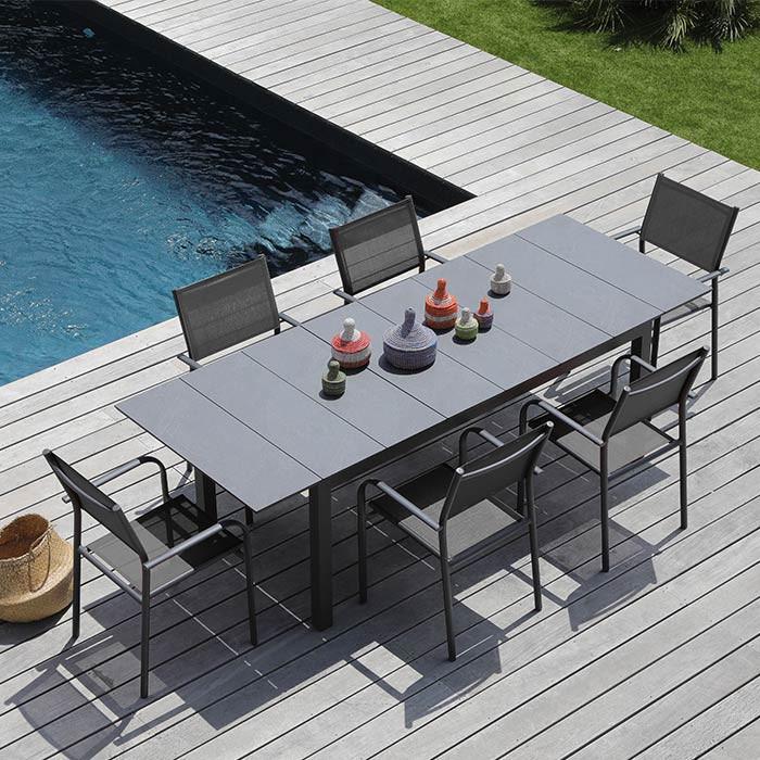 Ensemble de jardin table Tahaa et fauteuils Duca gris - 6 personnes