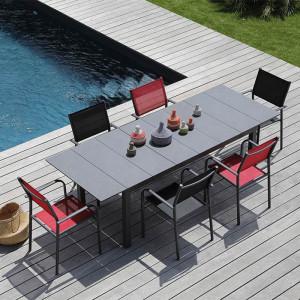 Ensemble salon de jardin 6 personnes - Table extensible Tahaa gris - Fauteuil Duca noir - Alizé