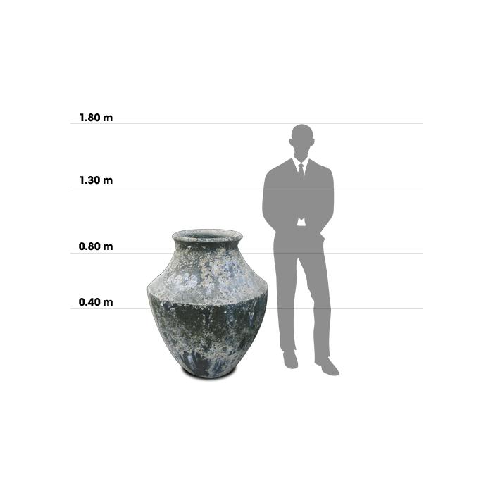 Taille d'une poterie Cyprus comparée à la taille d'un homme