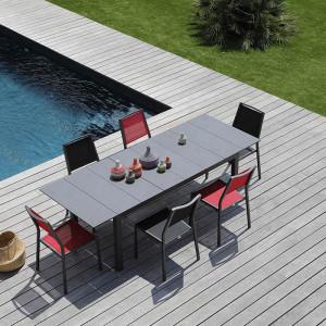 Ensemble salon de jardin 6 personnes - Table extensible Tahaa gris - Chaise Florence rouge - Alizé