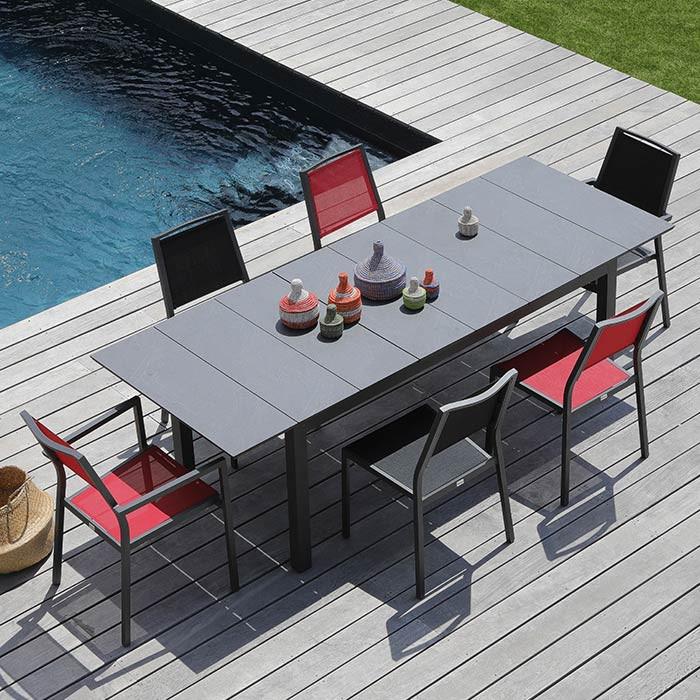 Ensemble salon de jardin 6 personnes - Table extensible Tahaa gris - Fauteuil Florence rouge - Alizé