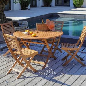 Ensemble salon de jardin 4 personnes - Table ronde pliante bois Sophie - Chaise pliante bois Saturne - Alizé
