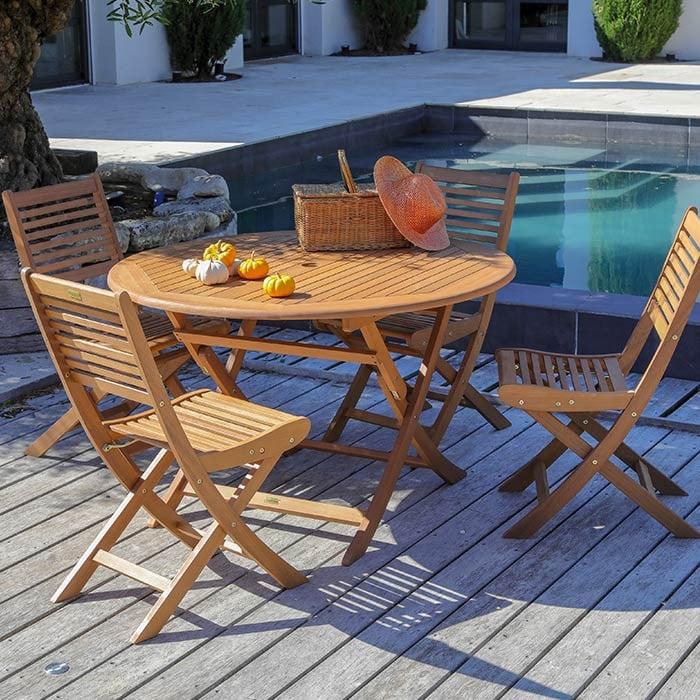 Ensemble de jardin table Sophie 120cm et chaises Saturne en bois - 4 ...