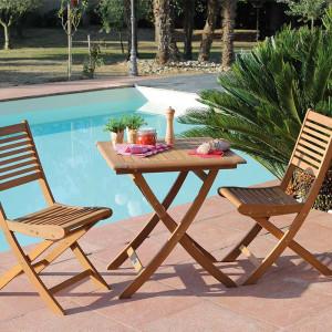 Ensemble salon de jardin 2 personnes - Table carré pliante bois Sophie - Chaise pliante bois Saturne - Alizé