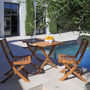 Ensemble salon de jardin 2 personnes - Table rectangulaire pliante bois Sophie - Chaise pliante bois Saturne - Alizé