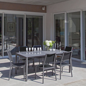 Ensemble salon de jardin 6 personnes - Table Soto gris - Chaise Florence noir - Alizé