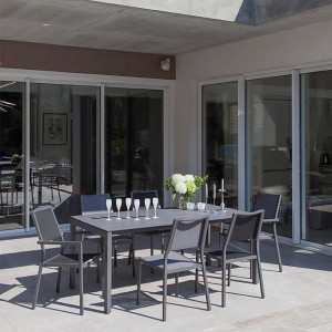 Ensemble salon de jardin 6 personnes - Table Soto gris - Fauteuil Florence noir - Alizé