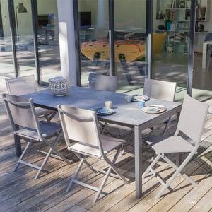 Table Soto 180cm + 6 chaises Théma taupe/beige