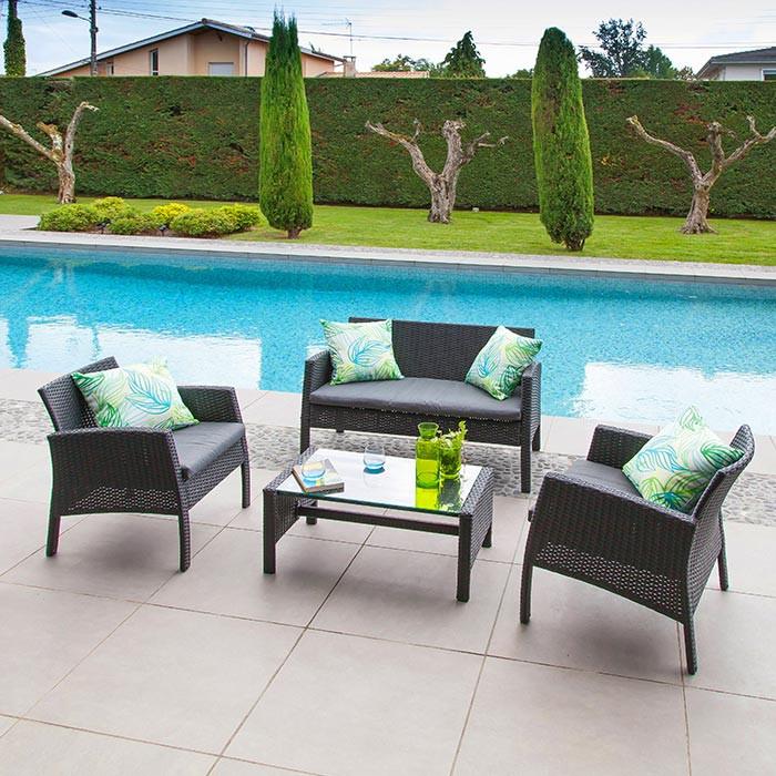 Ensemble salon de jardin en résine Ibiscus - Canapé, 2 fauteuils ...