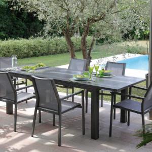 Ensemble de jardin - table Elisa 140/200 cm café - 6 fauteuils Ida café - 6 personnes - Aménagement coin repas terrasse