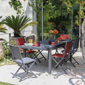Ensemble de jardin - table Elisa 140/200 cm café - 6 chaises Ida paprika - 6 personnes - Aménagement coin repas terrasse