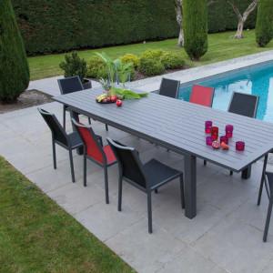 Ensemble de jardin - table Elisa 140/200 cm café - 6 chaises Ida café - 6 personnes - Aménagement coin repas terrasse