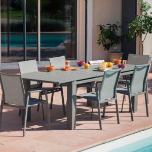 Ensemble de jardin - table Elisa 180/240 cm café - 6 fauteuils Palma café - 6 personnes - Aménagement coin repas terrasse