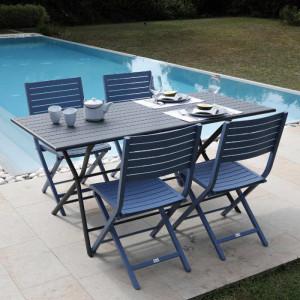 Ensemble de jardin - table Globe 160x78 cm grise - 4 chaises Lucca cobalt - 4 personnes - Aménagement coin repas terrasse